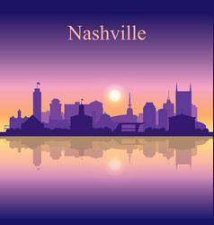 Nashville silhouette on sunset background vector