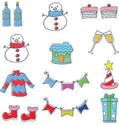 Object christmas color collection in doodle vector