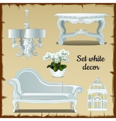 Set of furniture in white classic style vector