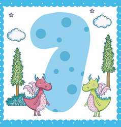 seven number cartoon vector image