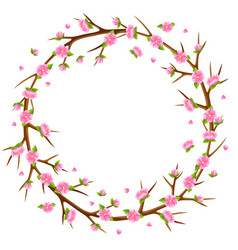 Spring frame with branches of tree and sakura vector