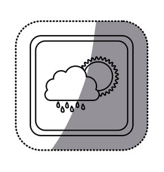 sticker monochrome square frame with cloud with vector image vector image