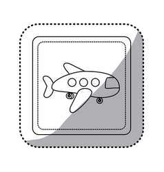 sticker silhouette square button cartoon jet vector image