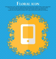 Tablet Floral flat design on a blue abstract vector image