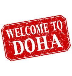 Welcome to doha red square grunge stamp vector