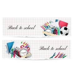 Back to schoolTwo banners with school supplies vector image