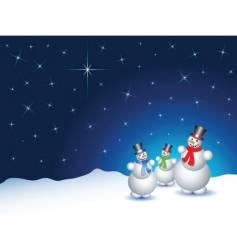 snowmen on a snowy night vector image
