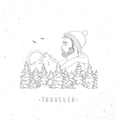 traveler mountain vector image