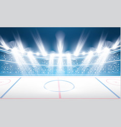 ice hockey stadium with spotlights vector image