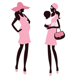 Fashionable pregnancy and maternity vector image