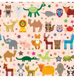 Set of funny cartoon animals character on pink vector image