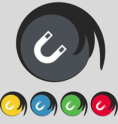 Magnet horseshoe icon sign symbol on five colored vector