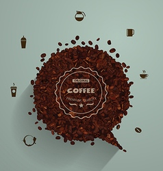 Coffee beans with empty speech bubbles vector