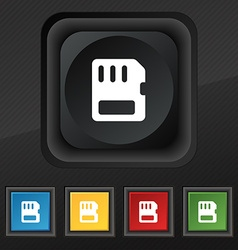 Compact memory card icon symbol set of five vector