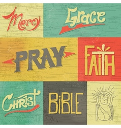Vintage hand drawn words and images of faith vector