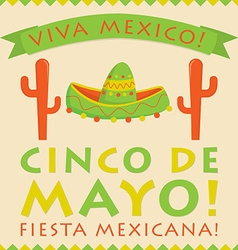 Retro style cinco de mayo 5th of may card in vector