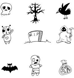 Cute halloween set doodle vector image