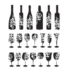 Wine bottle and glasses silhouettes vector