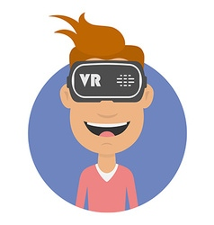 Joyful and happy man in virtual reality headset vector
