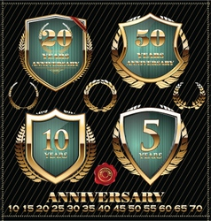Anniversary green and gold design element vector