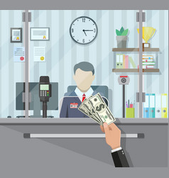 bank teller behind the window vector image vector image