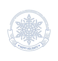 Christmas and New Year badge with snowflake vector image