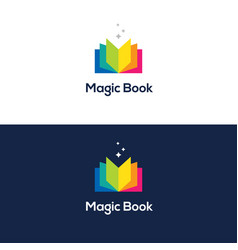 colorful open book logo vector image vector image