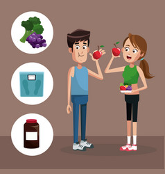 Couple sport eating healthy vector