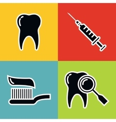 Dentistry medical black icons with white stroke vector image vector image
