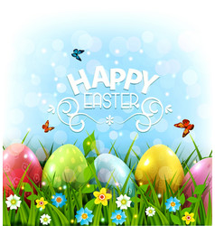 Easter greeting card with colorful vector