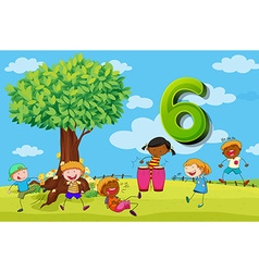 Flashcard number 6 with six children in the park vector image vector image