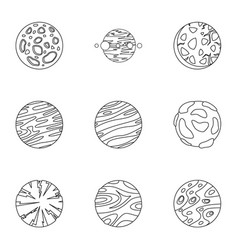 Galaxy planet icons set outline style vector