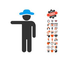 gentleman show icon with love bonus vector image vector image