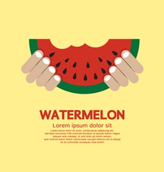 Hand hold a piece of watermelon vector