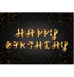 happy birthday gold sign on black background vector image