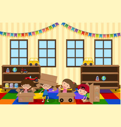 happy children playing in the room vector image