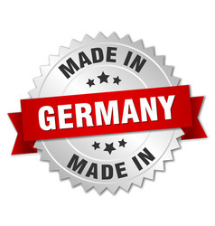 Made in germany silver badge with red ribbon vector