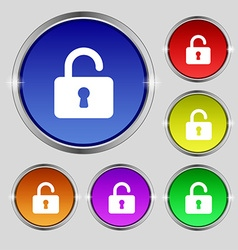 Open Padlock icon sign Round symbol on bright vector image vector image