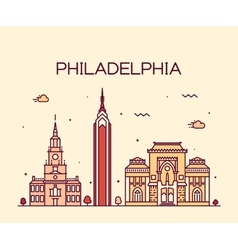 Philadelphia skyline trendy linear style vector