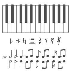 Piano keys and notes vector