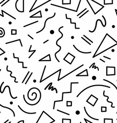 Retro 80s seamless pattern in black and white vector