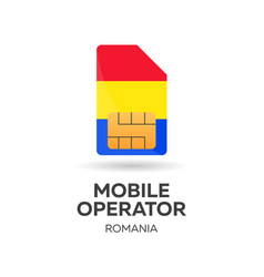 Romania mobile operator sim card with flag vector