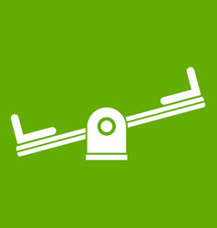 seesaw icon green vector image vector image