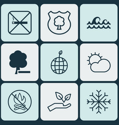 Set of 9 ecology icons includes save world vector