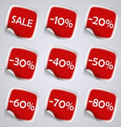 Set of red rectangle sale stickers vector image vector image
