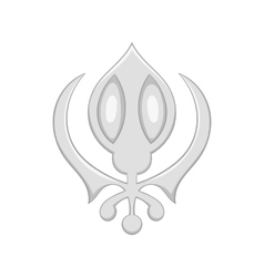 Sikhism symbol icon in cartoon style vector