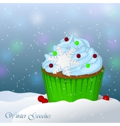 Sweet and delicious christmas cupcake in snow vector