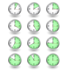 Twelve clocks showing different time on white vector