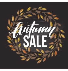 Autumnal sale round frame written with chalk on vector
