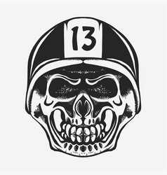 skull rider in helmet with goggles vector image